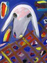 Menashe KADISHMAN - Peinture - Sheep Portrait