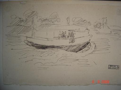 Paul Émile COLIN - Dibujo Acuarela - PAYSAGE AU BATEAU