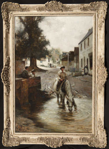 Adam Edwin PROCTOR - Pintura - A Horse Watering at the Ford