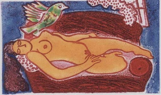 CORNEILLE - Estampe-Multiple - Femme au divan rouge