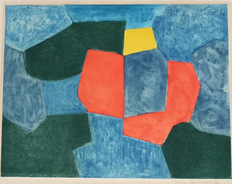 Serge POLIAKOFF - Print-Multiple - Composition verte, bleue, rouge et jaune