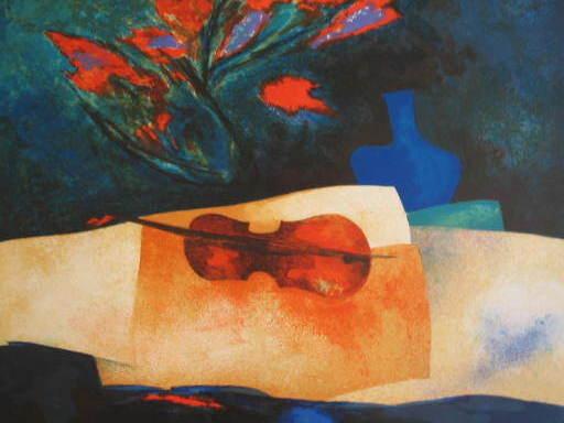 Claude GAVEAU - Grabado - Le violon,1985.