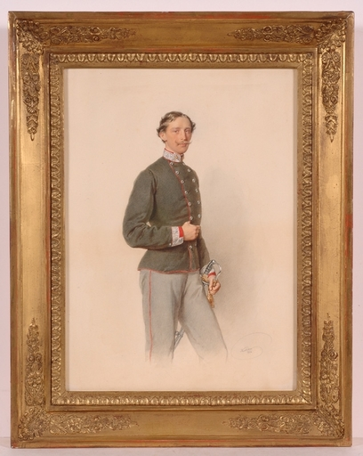 "Josef KRIEHUBER - Drawing-Watercolor - ""Portrait of an Austrian officer"", 1864, Watercolor"