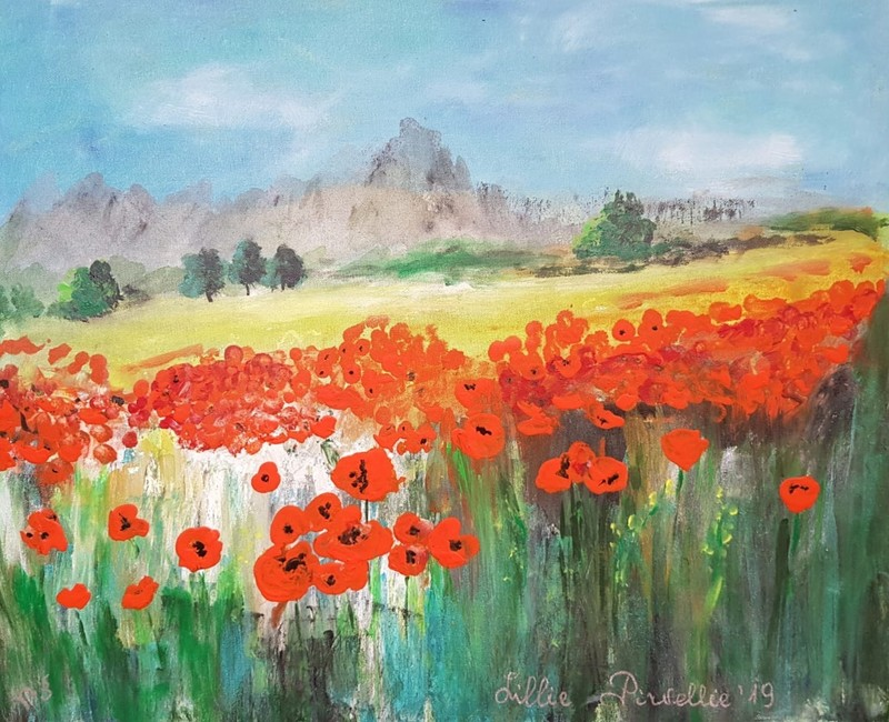 """Lillie PIRVELLIE - Painting - """"Yellow Road"""" Landscape red flowers, poppies, blue sky"""