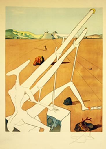 萨尔瓦多·达利 - 版画 - Martian Dali with Double Holoelectric Microscope