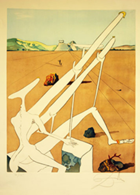 萨尔瓦多·达利 - 版画 - Martian Dali with Double Holoelectric Microscope
