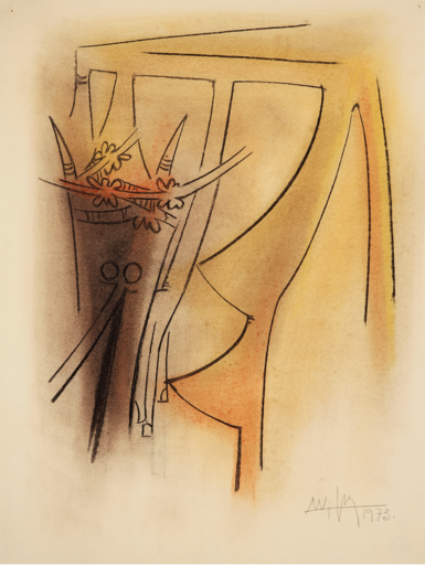Wifredo LAM - Drawing-Watercolor - Untitled