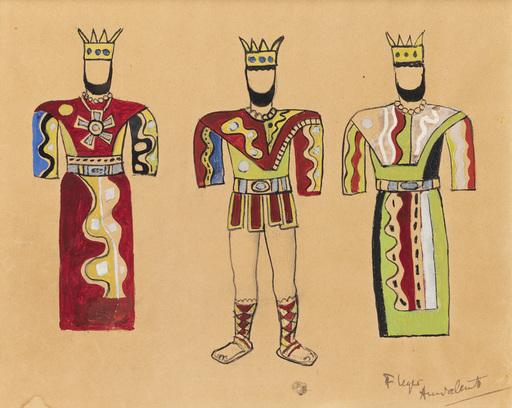 Fernand LÉGER - Dessin-Aquarelle - Etude de costume pour le Triomphe de David