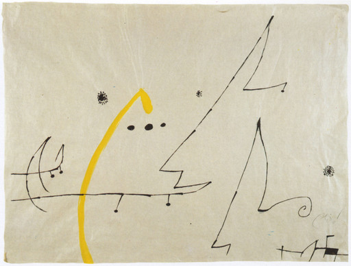 Joan MIRO - Zeichnung Aquarell - Oiseaux, constellations
