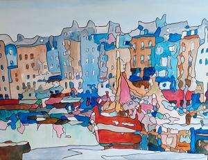Joël FOUGMAN - Painting - Vieux Port à Honfleur