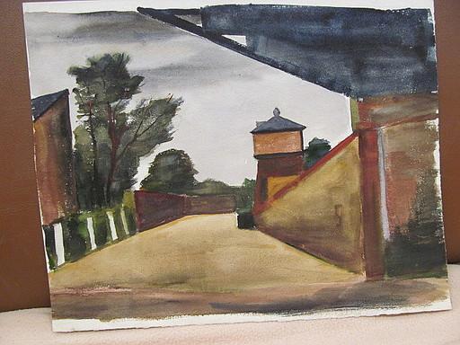 Walter KOHLHOFF - Disegno Acquarello - Wachtturm an Mauer