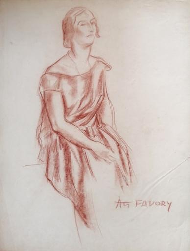 André FAVORY - Drawing-Watercolor - étude de femme
