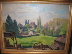 Charles PICART LE DOUX - Peinture - Village aux grands arbres 1941