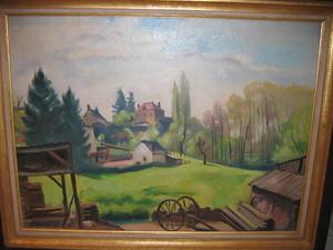 Charles PICART LE DOUX - Pittura - Village aux grands arbres 1941