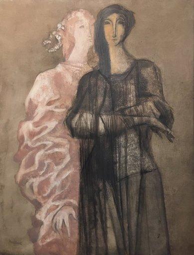 Rudolf MEERBERGEN - Pintura - Deux Femmes  (ca..1980)