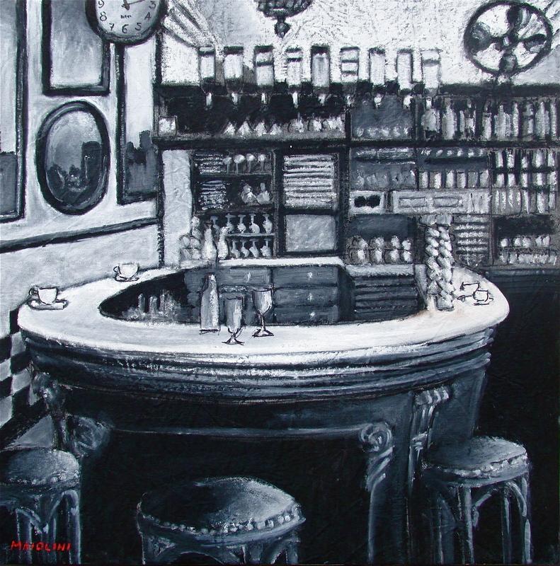 Carlo MAIOLINI - Peinture - Le Bar Fer à Cheval