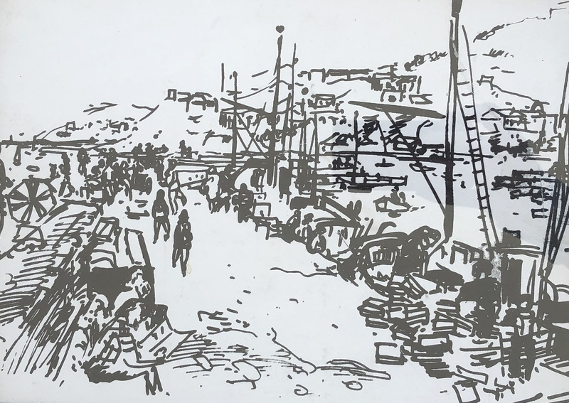 Pierre CHARTRON - Drawing-Watercolor - Collioure