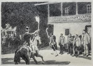 Eduard THÖNY - Dibujo Acuarela - Ankunft König Ludwig II. in der Vorderriß