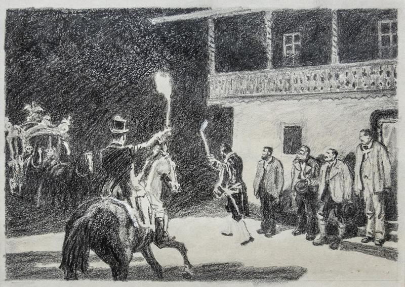 Eduard THÖNY - Drawing-Watercolor - Ankunft König Ludwig II. in der Vorderriß