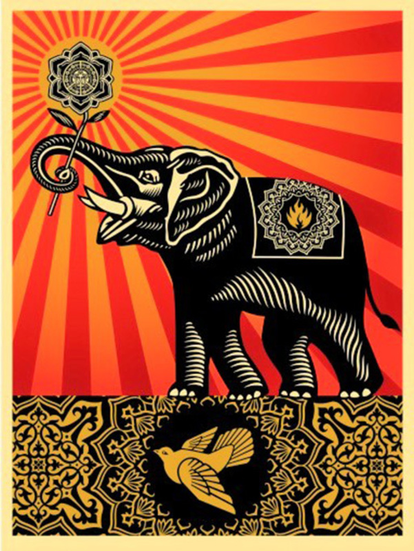 谢帕德·费瑞 - 版画 - Peace Elephant