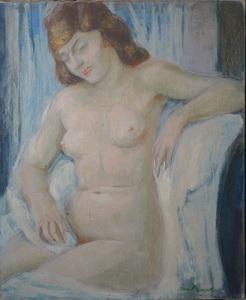 Jean BAUDET - Painting - Femme nue assise