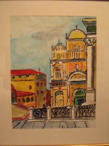 "Christian HAREL-COURTES - Dessin-Aquarelle - Venise: ""L'Ospedale"" 1987"