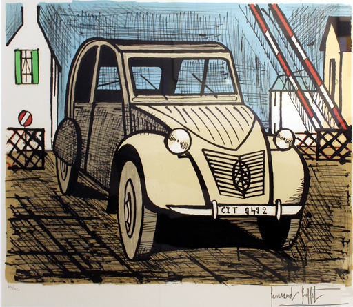Bernard BUFFET - Estampe-Multiple - 2 CV Citroën
