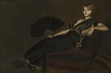Albert VON KELLER - Pintura - Dame mit Fächer