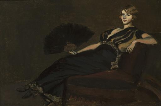 Albert VON KELLER - Peinture - Dame mit Fächer