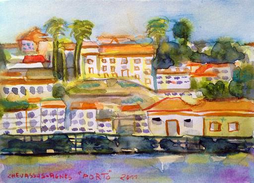 Jean-Pierre CHEVASSUS-AGNES - Drawing-Watercolor - Vue de PORTO