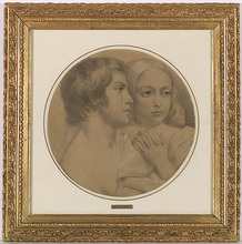 """Carl REICHERT - Dibujo Acuarela - """"Brother and Sister"""", Drawing, 1850s/1860s"""