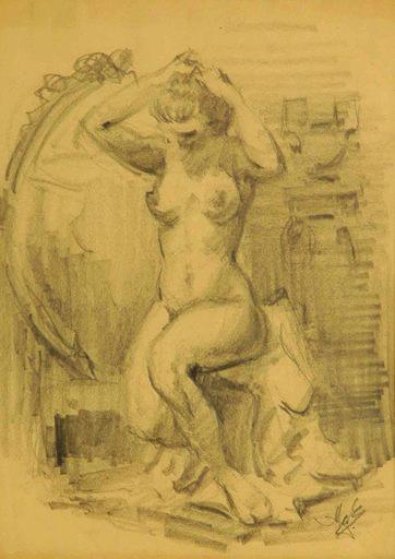Alexandros ALEXANDRAKIS - Disegno Acquarello - Seated woman putting her hair up, 1940-46