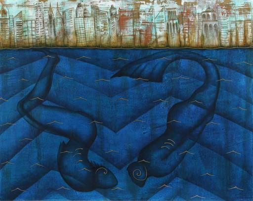 Humberto CASTRO - Pittura - The blue city