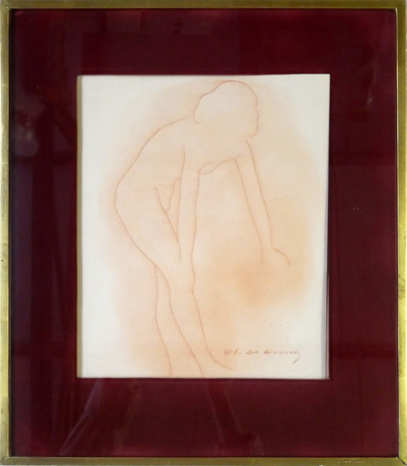 Charles DE COORDE - Drawing-Watercolor - Untitled (femme nue)