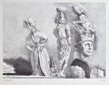 Werner TÜBKE - Grabado - Happening in Pompeji IV
