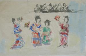 MANÉ-KATZ - Drawing-Watercolor - Geisha Girls