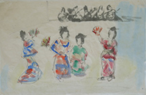 MANÉ-KATZ - Drawing-Watercolor - Geisha Girls