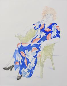 David HOCKNEY - Estampe-Multiple - Celia in a Wicker Chair
