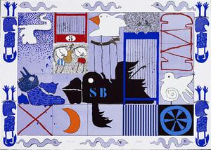 Christian SILVAIN - Estampe-Multiple - L'oiseau noir