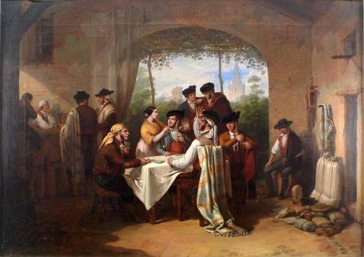 Joaquín DOMINGUEZ BÉCQUER - Gemälde - The Card Game