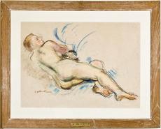 Emile Othon FRIESZ - Dibujo Acuarela - Femme nue de dos couchée