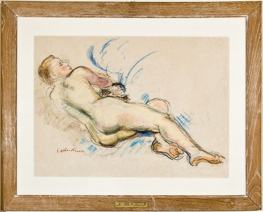 Emile Othon FRIESZ - Drawing-Watercolor - Femme nue de dos couchée
