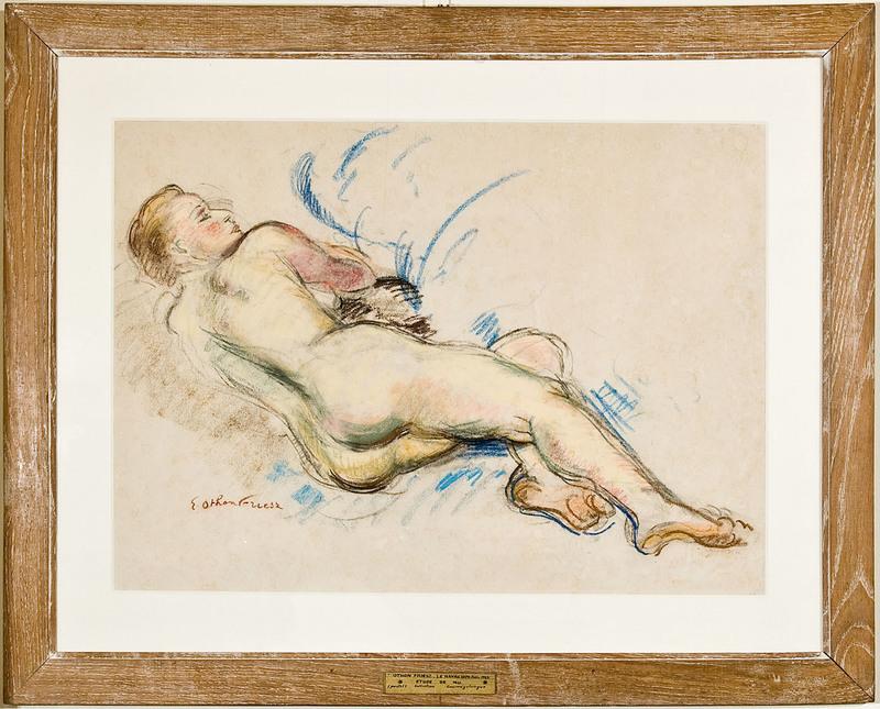 Emile Othon FRIESZ - Disegno Acquarello - Femme nue de dos couchée