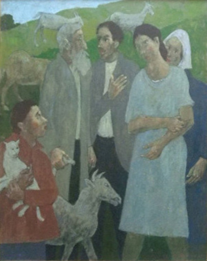 Grégoire MICHONZE - Painting - The Shepherd and the Village Folk