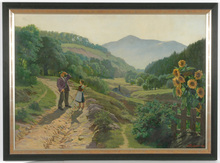 "Ivo SALIGER - Painting - ""Alpine road scene"" oil painting"