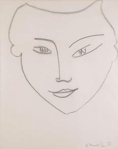 Henri MATISSE - Disegno Acquarello - Visage de femme