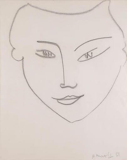 Henri MATISSE - Zeichnung Aquarell - Visage de femme