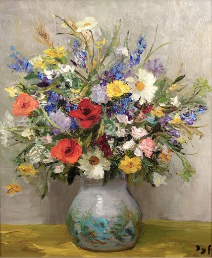 Marcel DYF - Painting - Fleurs des champ (Tapis jaune)