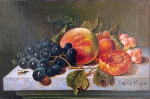 Emilie PREYER - Gemälde - Früchtestillleben mit Wespe, Still life with wasp