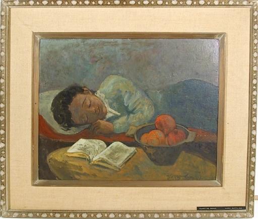 Harry GOTTLIEB - Painting - Sleeping Woman
